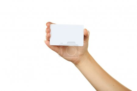 Photo for Hand holding a business card on white backgound - Royalty Free Image