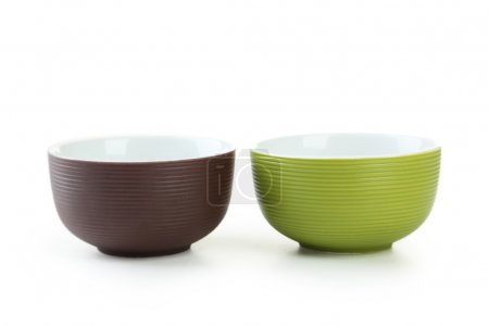 Empty green and brown bowls