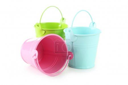 Colorful  empty buckets