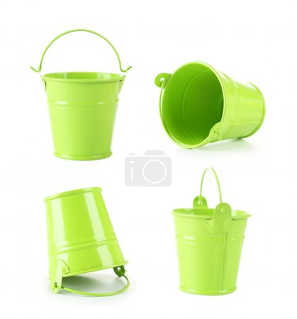 Green empty buckets