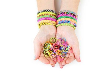 Loom bracelets on hands
