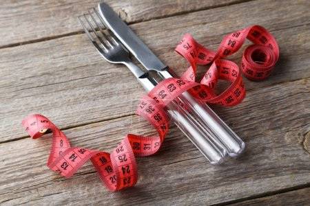 Measuring tape with knife and fork