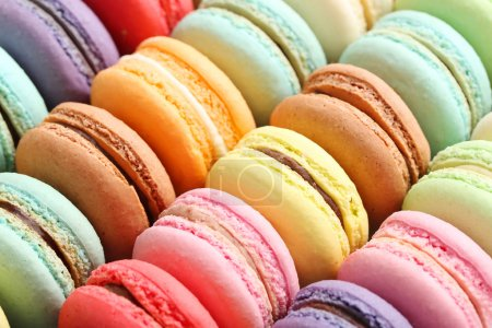 Photo for French colorful macaroons background, close up - Royalty Free Image