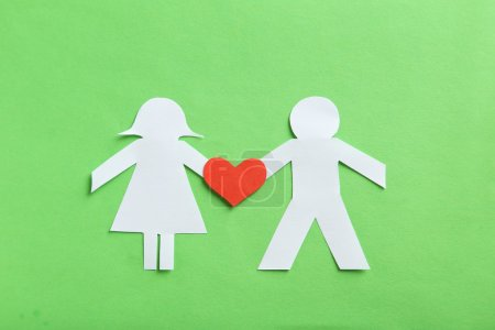 Paper people together in love