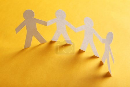 Paper people on paper background