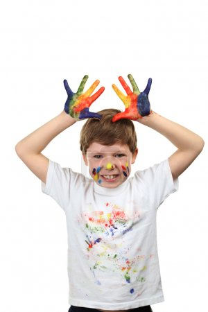 Portrait of beautiful little boy with paints on hands isolated o