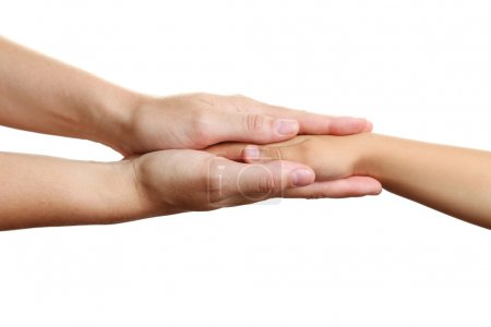 Woman and child hands