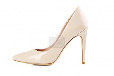 Beige women's high-heeled shoe