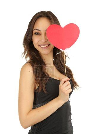 Beautiful woman with heart