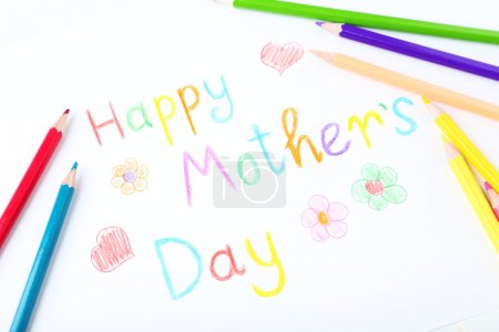 Photo for Happy mothers day card made by a child - Royalty Free Image