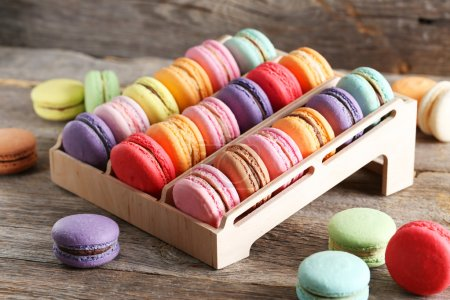 Photo for French colorful macarons on the wooden stand - Royalty Free Image