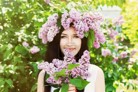 woman with lilac wreath