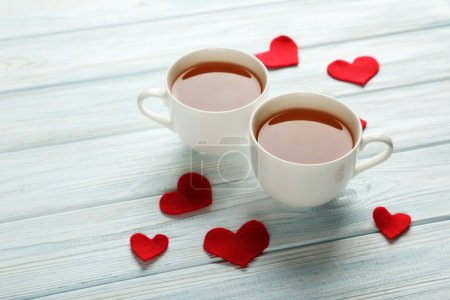 Love hearts with cups of tea
