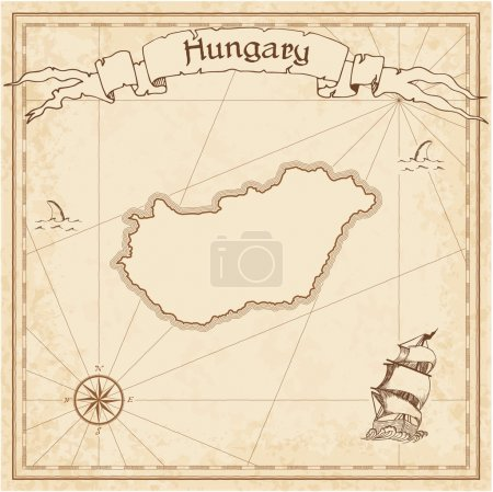 Hungary old treasure map.