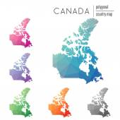 Set of vector polygonal Canada maps Bright gradient map of country in low poly style Multicolored Canada map in geometric style for your infographics
