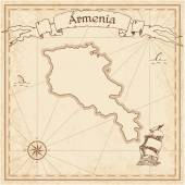 Armenia old treasure map Sepia engraved template of pirate map Stylized pirate map on vintage paper