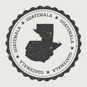 Guatemala hipster round rubber stamp with country map