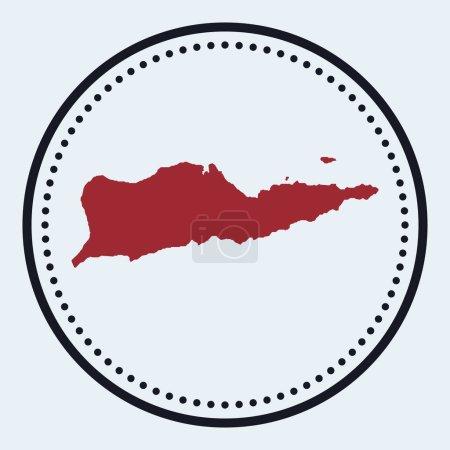 Illustration pour Timbre rond Sainte Croix. Logo rond avec carte et titre de l'île. Élégant insigne minimal Sainte Croix avec carte. Illustration vectorielle. - image libre de droit