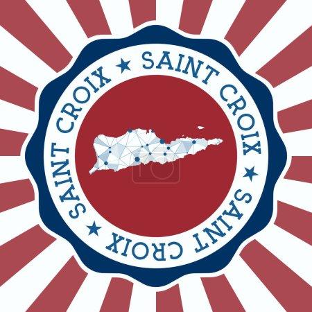 Illustration pour Insigne Sainte Croix. Logo rond de l'île avec carte en maille triangulaire et rayons radiaux. Vecteur EPS10. - image libre de droit
