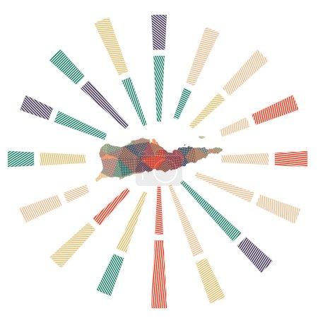 Illustration pour Coup de soleil de Sainte Croix. Rayons poly rayés bas et carte de l'île. Illustration vectorielle tendance. - image libre de droit