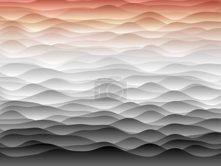 Illustration for Abstract curves background. Smooth curves with gradients in red grey colors. Cool vector illustration. - Royalty Free Image