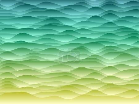 Illustration for Abstract curves background. Smooth curves with gradients in blue green yellow colors. Amazing vector illustration. - Royalty Free Image