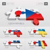 Japan and Czech Slovakia Ukraine Estonia Romania Flag 3d vector puzzle Set 04