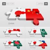 Japan and China Indonesia Pakistan Bangladesh Philippines Flag 3d vector puzzle Set 09