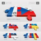 France and Czech Slovakia Ukraine Estonia Romania Flag 3d vector puzzle Set 04