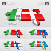 Italy and Denmark Iceland Norway Finland Sweden Flag 3d vector puzzle Set 05