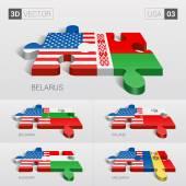USA and Belarus Bulgaria Poland Hungary Moldavia Flag 3d vector puzzle Set 03