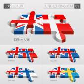 United Kingdom and Denmark Iceland Norway Finland Sweden Flag 3d vector puzzle Set 05