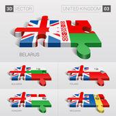 United Kingdom and Belarus Bulgaria Poland Hungary Moldavia Flag 3d vector puzzle Set 03