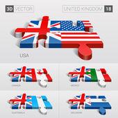 United Kingdom and USA, Canada, Mexico, Guatemala, Salvador Flag. 3d vector puzzle. Set 18.