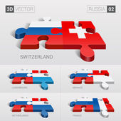 Russia and Switzerland Luxembourg Monaco Netherlands France Flag 3d vector puzzle Set 02