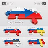 Russia and Czech Slovakia Ukraine Estonia Romania Flag 3d vector puzzle Set 04