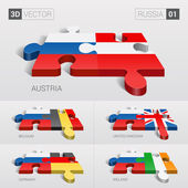 Russia and Austria Belgium United Kingdom Germany Ireland Flag 3d vector puzzle Set 01