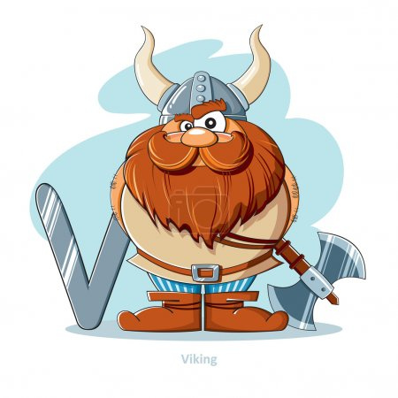 Cartoons Alphabet - Letter V with funny Viking