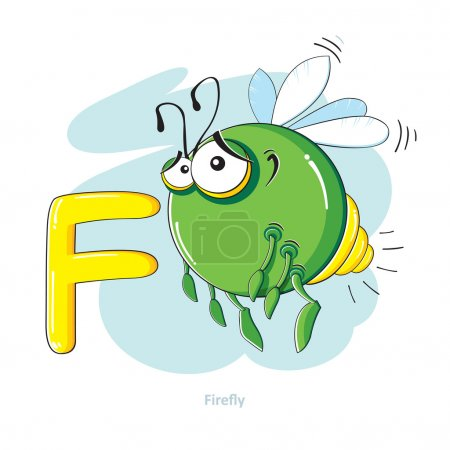 Illustration for Cartoons Alphabet - Letter F with funny Firefly - Royalty Free Image