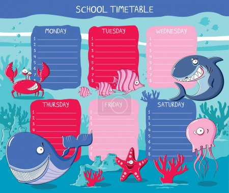 School timetable with funny Sea animals