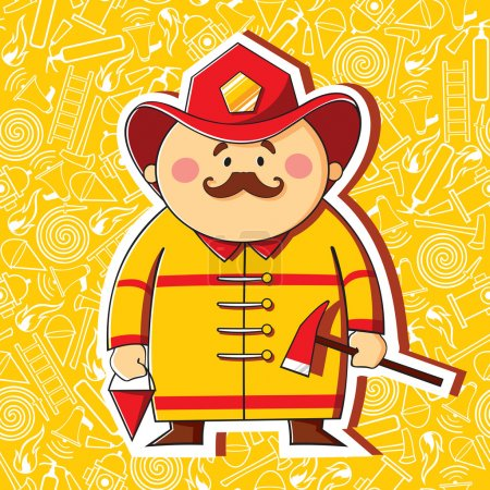 Photo for Cartoon firefighter on the thematic background - Royalty Free Image