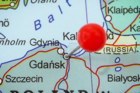 Pin in a map of Gdansk