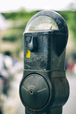 Parking meter on street