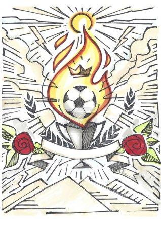 Photo pour Illustration ou dessin à la main d'un ballon de football, d'un trophée, d'un ruban et d'autres éléments - image libre de droit