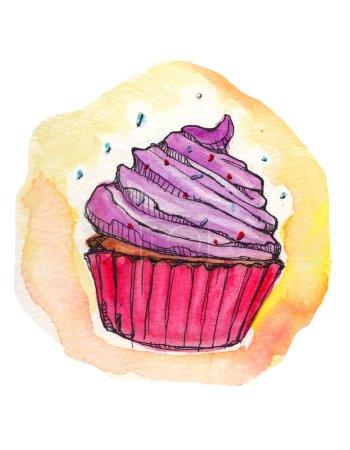 Cupcake watercolor illustration