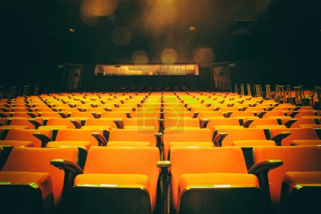 Photo for Image of an empty theater with red seats - Royalty Free Image