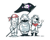 Pirates Hand drawnvector illustration or drawing of some pirates characters