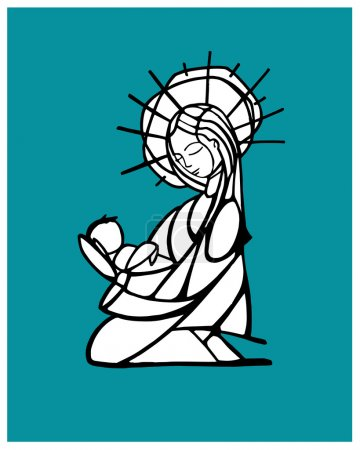 Blessed Virgin Mary contour drawing