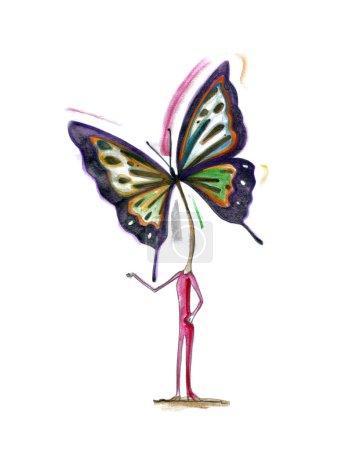 Illustration pour Homme avec tête papillon - symbole printemps et créativité - concepts de design - image libre de droit