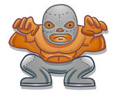 Mexican traditional cartoon wrestler